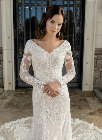 T2081Z Modest Wedding Dress front close from A Closet Full of Dresses Private Label