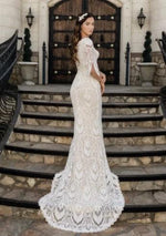 boho modest wedding dress with 3/4 illusion lace sleeves LDS bridal gown for plus size back view