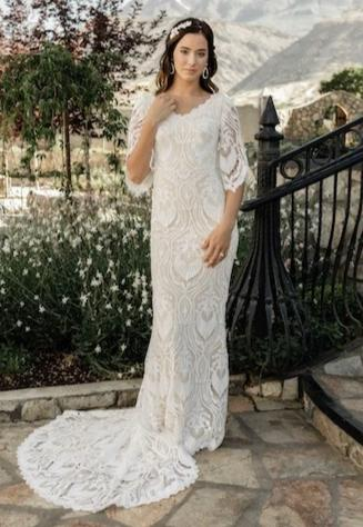 boho modest wedding dress with 3/4 illusion lace sleeves LDS bridal gown for plus size front with gorgeous chapel train