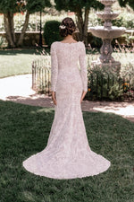 T2085Z modest wedding dress with long sleeves sweetheart neckline beaded lace LDS bridal gown for plus size back