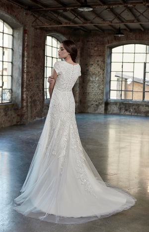 Venus Bridal TB7781 Modest Wedding Dress back from A Closet Full of Dresses
