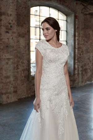 Venus Bridal TB7781 Modest Wedding Dress close from A Closet Full of Dresses