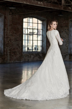 Venus Bridal TB7783 Modest Wedding Dress back from A Closet Full of Dresses