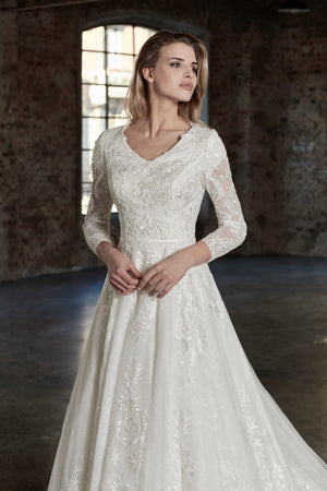 Venus Bridal TB7783 Modest Wedding Dress close from A Closet Full of Dresses