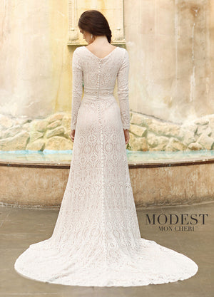 Mon Cheri TR11831 Modest Wedding Dress back from A Closet Full of Dresses