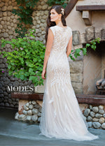 Mon Cheri TR11837 Modest Wedding Dress Back from A Closet Full of Dresses