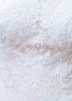 Mon Cheri TR11975 Modest Wedding Dress Fabric from A Closet Full of Dresses