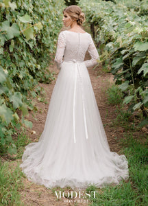 Mon Cheri TR11976 Modest Wedding Dress back from A Closet Full of Dresses