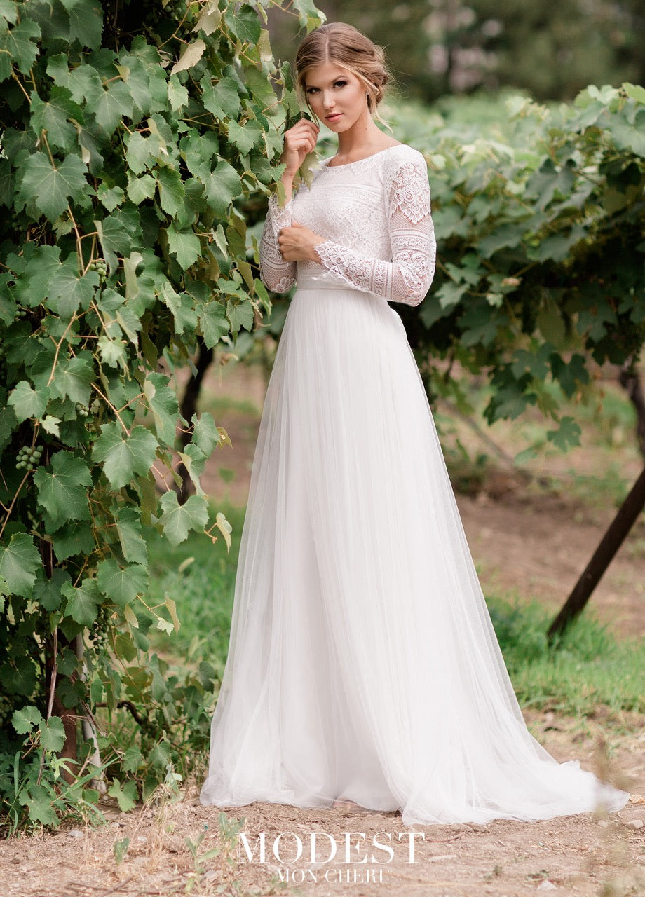 Mon Cheri TR11976 Modest Wedding Dress from A Closet Full of Dresses