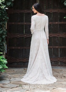 Mon Cheri TR11983 Modest Wedding Dress back from A Closet Full of Dresses