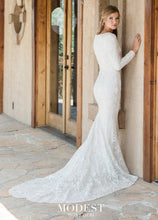 Load image into Gallery viewer, Mon Cheri TR11987 Modest Wedding Dress back view from A Closet Full of Dresses