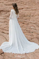 TR12021  LDS modest wedding dresses lace long illusion sleeves chiffon skirt bridal gown for plus size back view