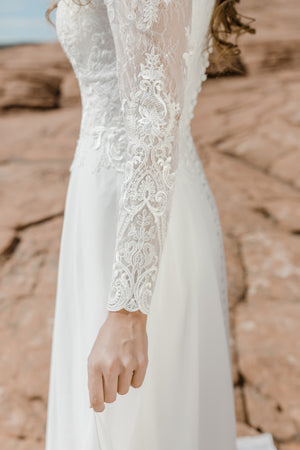 TR12021  LDS modest wedding dresses lace long illusion sleeves chiffon skirt bridal gown for plus size close side view
