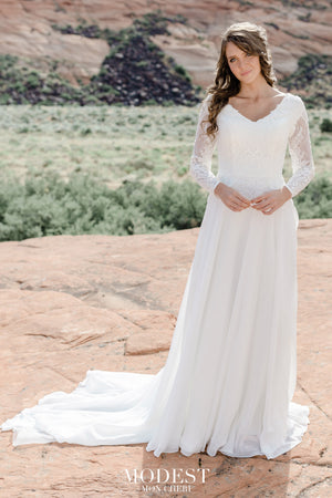 TR12021  LDS modest wedding dresses lace long illusion sleeves chiffon skirt bridal gown for plus size glam front view