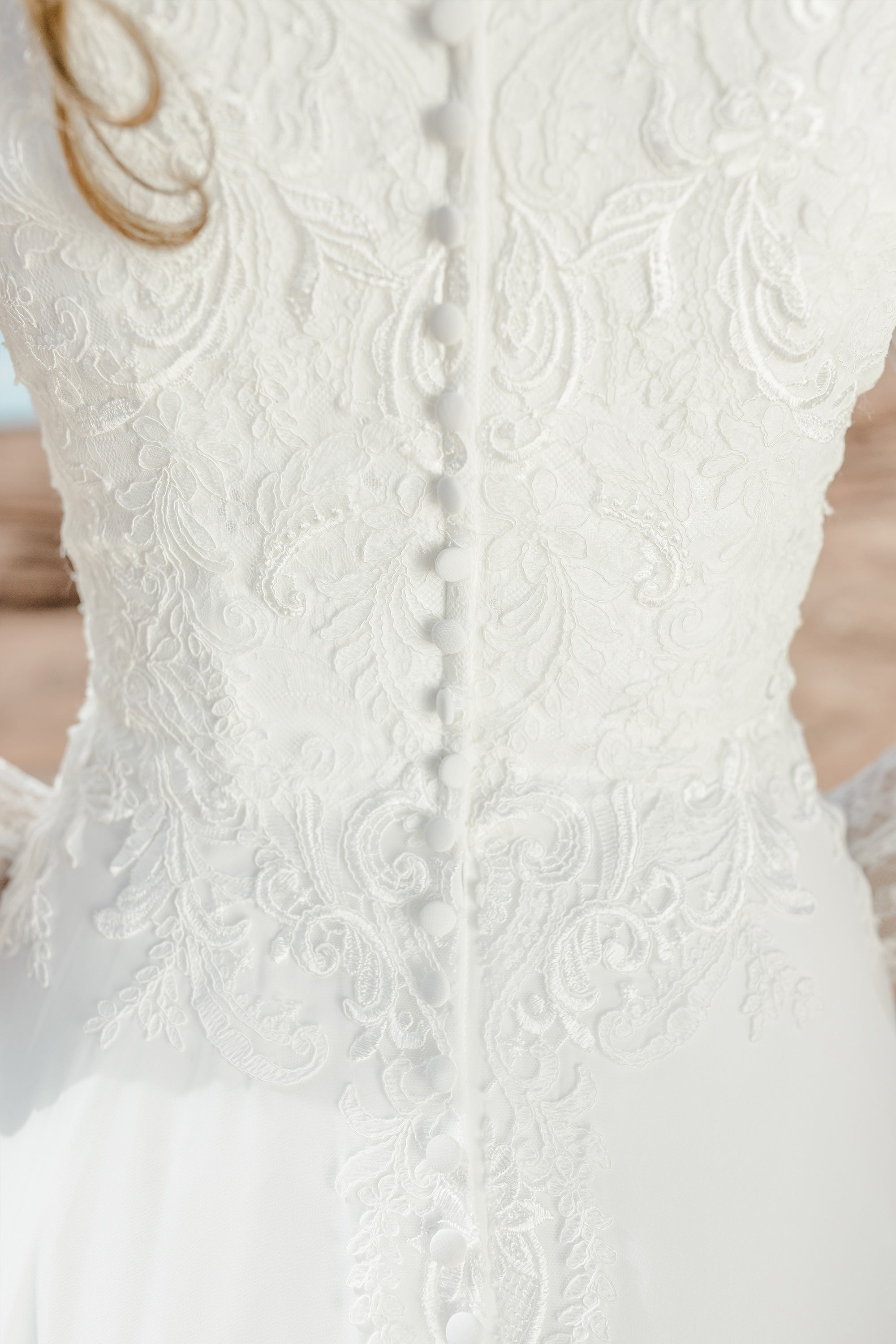 TR12021  LDS modest wedding dresses lace long illusion sleeves chiffon skirt bridal gown for plus size close back buttons