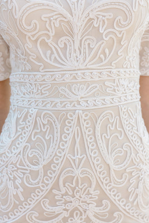 TR12022  LDS modest wedding dresses lace 3/4 sleeves fitted lace bridal gown for plus size closeup view
