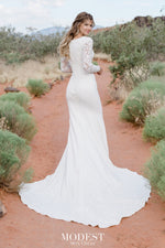 TR12023  LDS modest wedding dresses lace long sleeves fit and flare lace over stretch jersey bridal gown for plus size back view