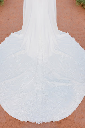 TR12023  LDS modest wedding dresses lace long sleeves fit and flare lace over stretch jersey bridal gown for plus size train view