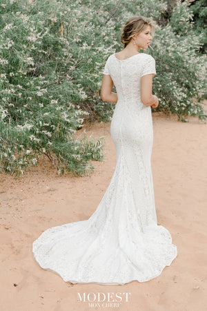 TR12024 LDS modest wedding dresses lace all over short sleeves fit and flare stretch lining bridal gown for plus size back view