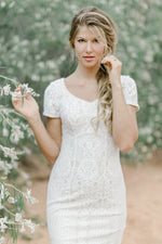 TR12024 LDS modest wedding dresses lace all over short sleeves fit and flare stretch lining bridal gown for plus size close front view