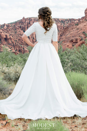 TR12025 LDS modest wedding dresses ball gown 3/4 sleeves lace and organza beautiful bridal gown for plus size back view