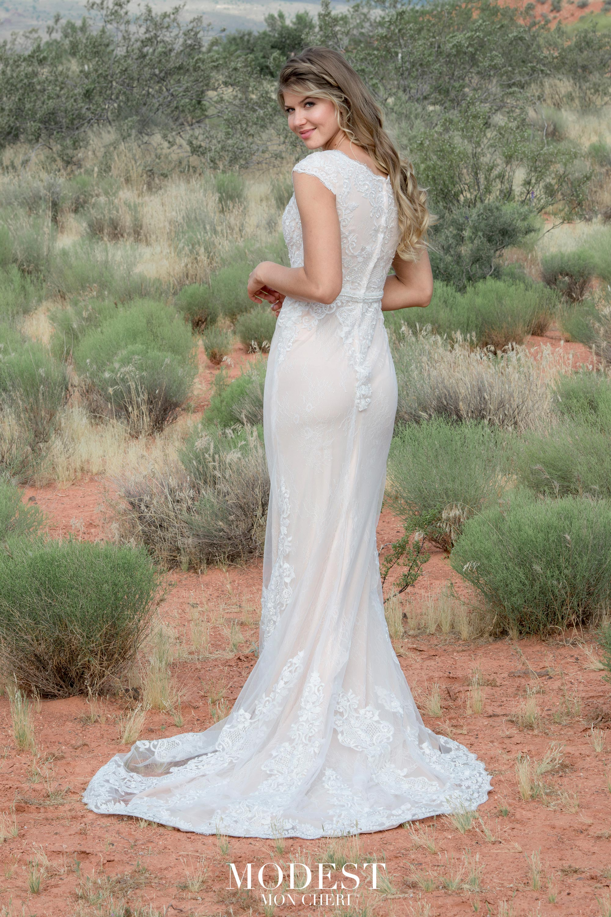 TR12028 lace Modest wedding dress with sleeves plus size brides A-Line modest bridal gown back view