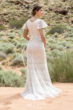 TR12030 Lace Modest Wedding Dress with flutter sleeves A-Line great for plus size brides Boho design back view