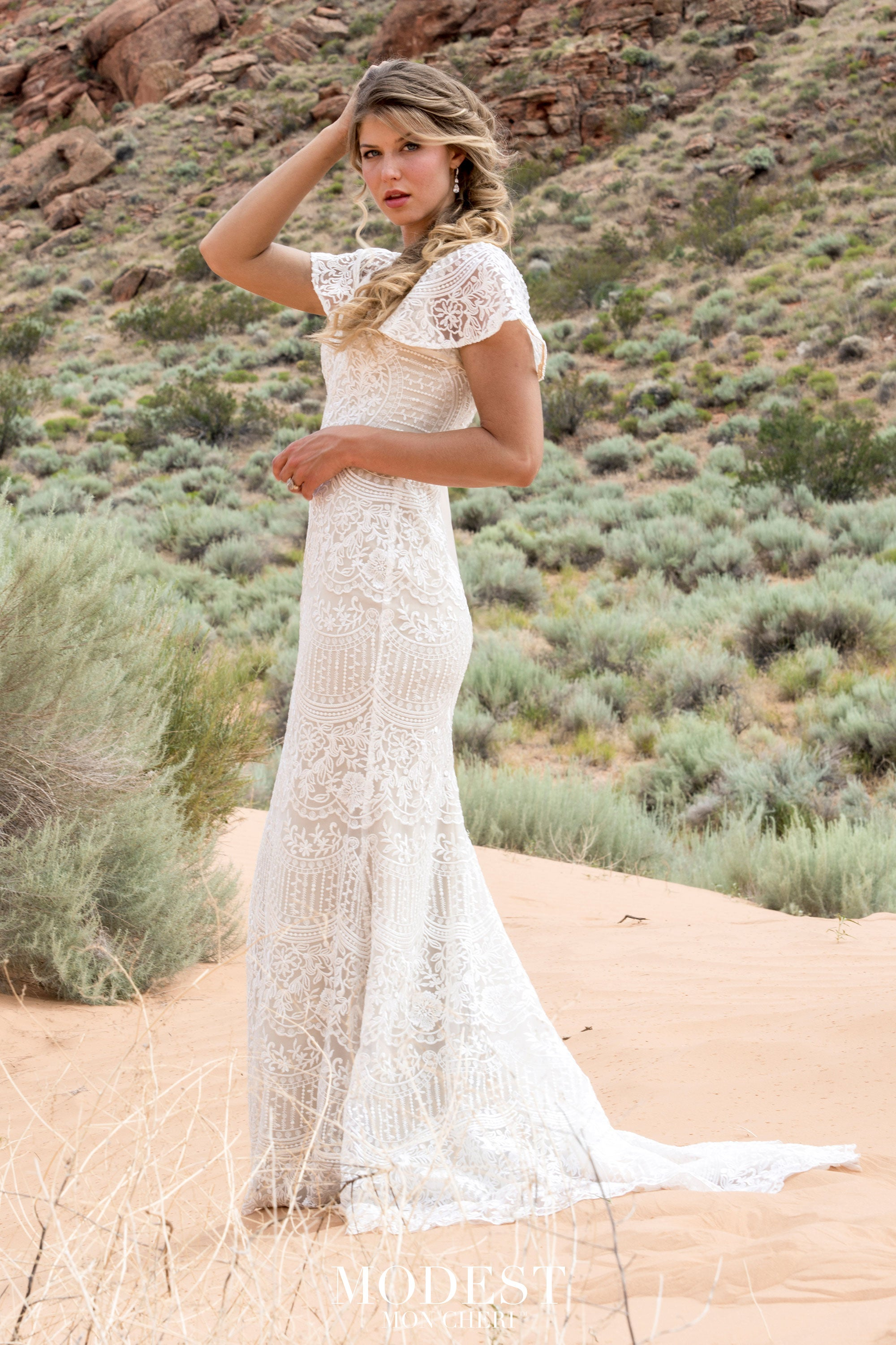 TR12030 Lace Modest Wedding Dress with flutter sleeves A-Line great for plus size brides Boho design side view