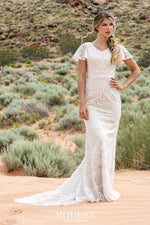 TR12030 Lace Modest Wedding Dress with flutter sleeves A-Line great for plus size brides Boho design Front Glam view