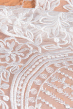 TR12030 Lace Modest Wedding Dress with flutter sleeves A-Line great for plus size brides Boho design close up view