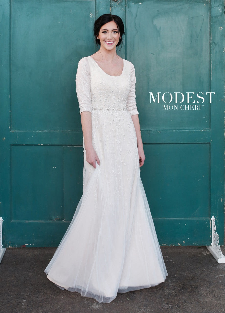 Mon Cheri TR21852 Modest Wedding Dress from A Closet Full of Dresses