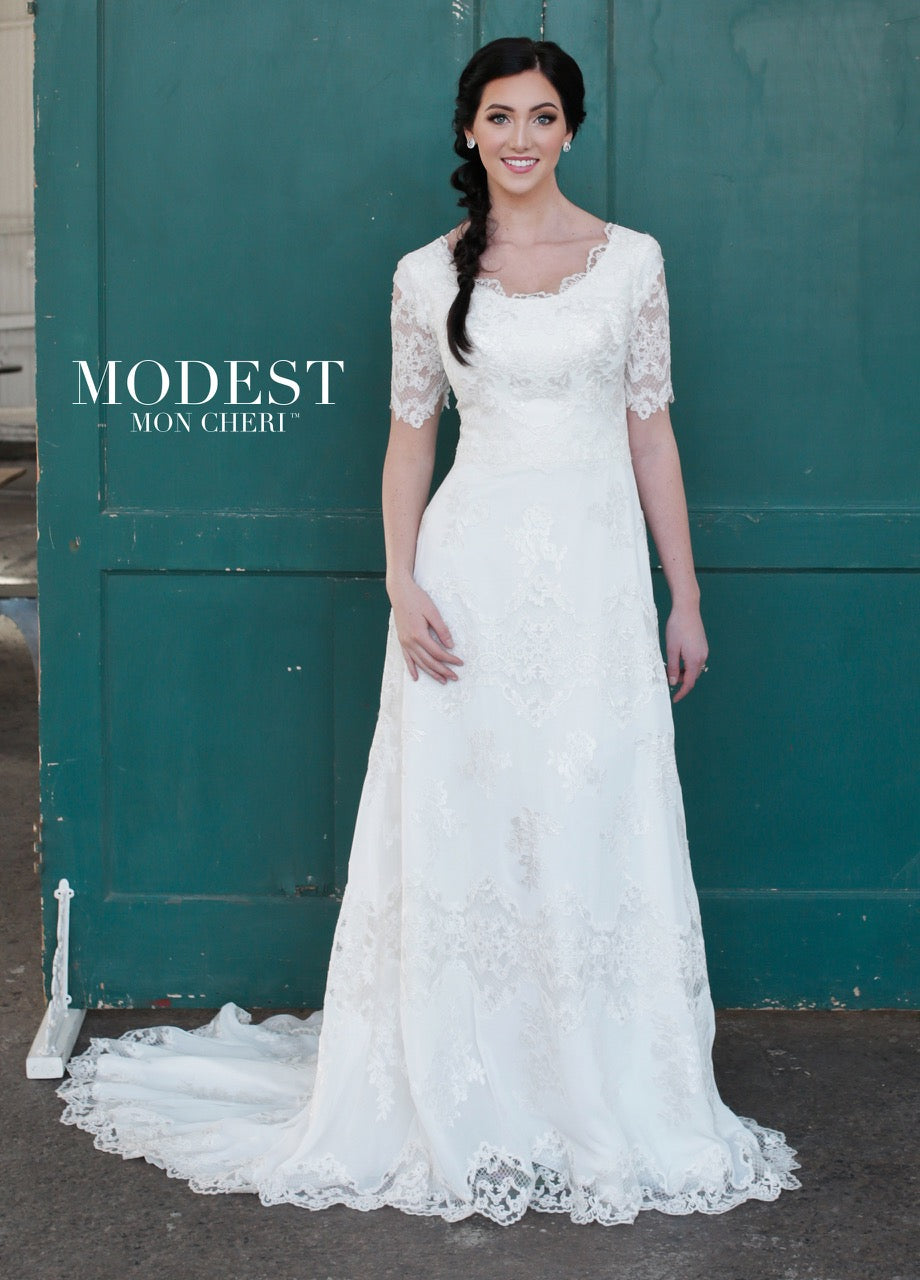 Mon Cheri TR21853 Modest Wedding Dress from A Closet Full of Dresses