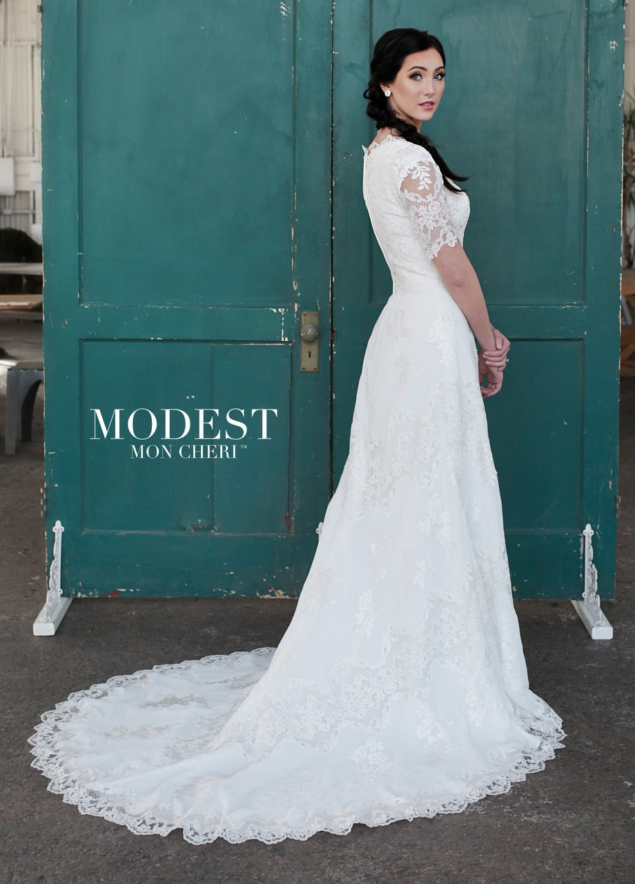 Mon Cheri TR21853 Modest Wedding Dress back from A Closet Full of Dresses