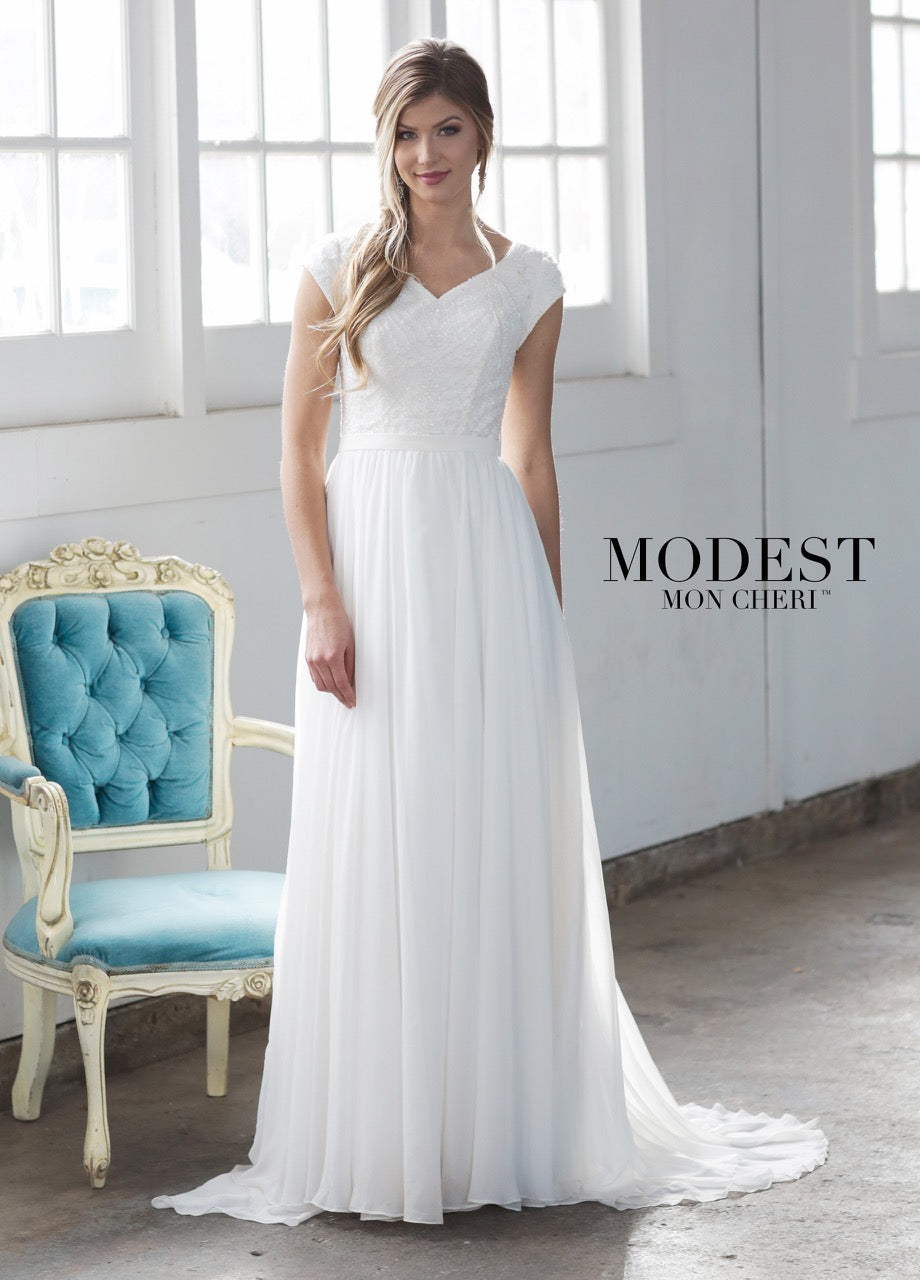 Mon Cheri TR21857 Modest Wedding Dress from A Closet Full of Dresses