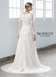 Mon Cheri TR21858 Modest Wedding Dress Back from A Closet Full of Dresses