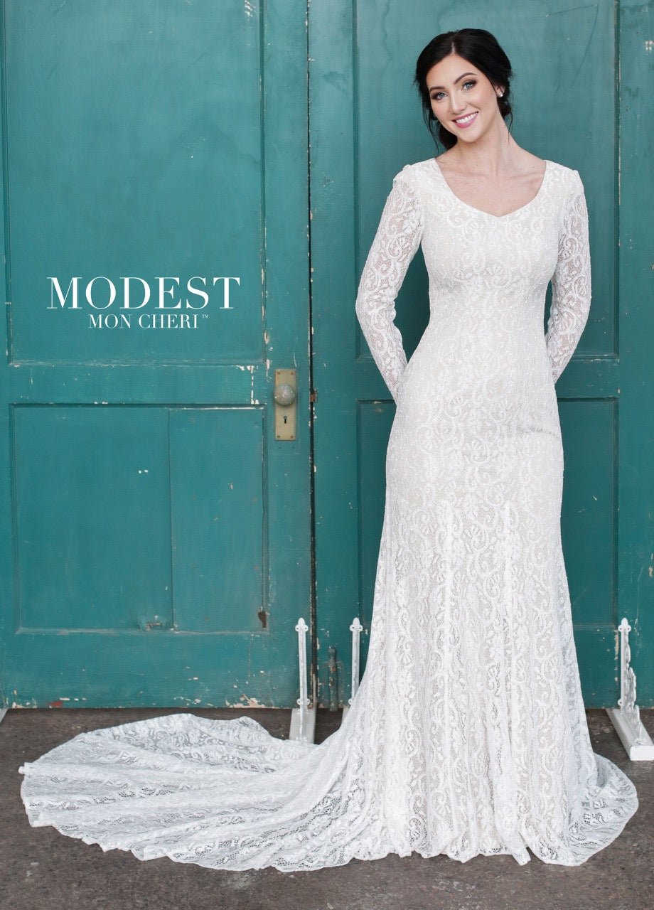 Mon Cheri TR21859 Modest Wedding Gown from A Closet Full of Dresses