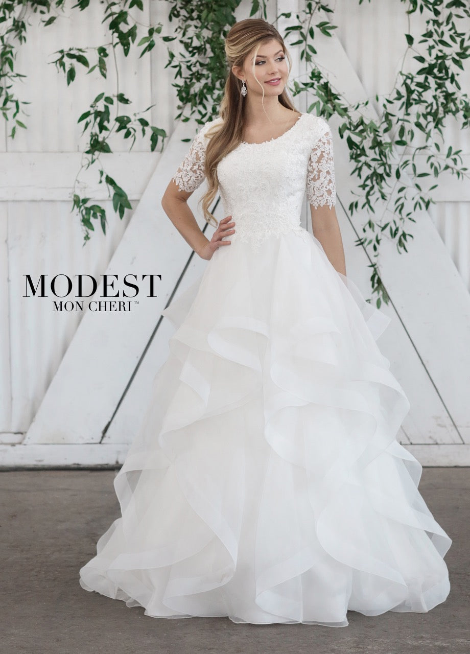 TR21860 modest wedding dress with lace sleeves scoop neck ruffled skirt for plus size