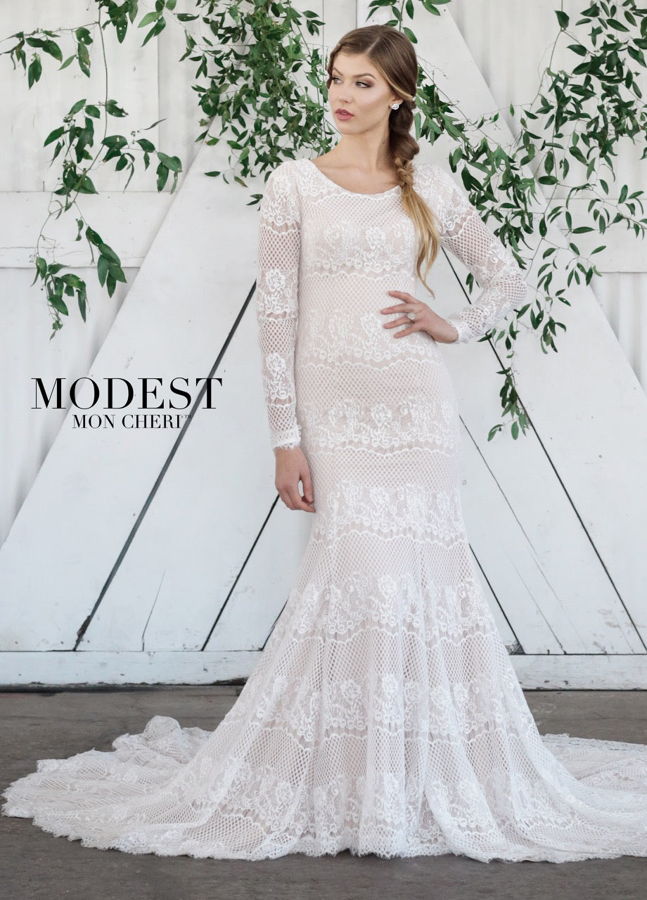 Mon Cheri TR21861 Modest Wedding Dress from A Closet Full of Dresses