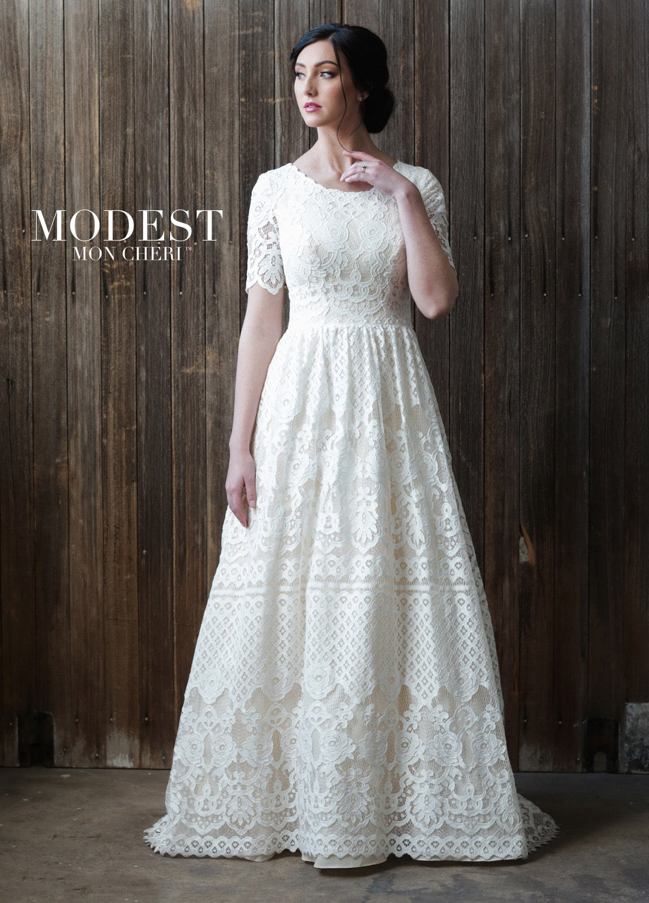 Mon Cheri TR21864 Modest Wedding Dress from A Closet Full of Dresses