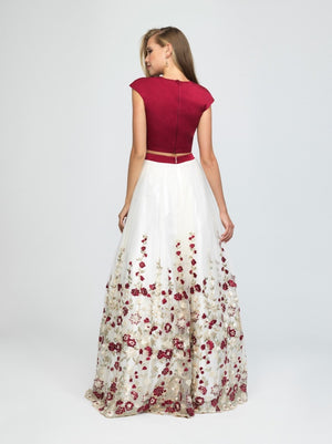 madison james 19-251M modest prom dress with sleeves floral ball gown sparkle cheap plus size back view