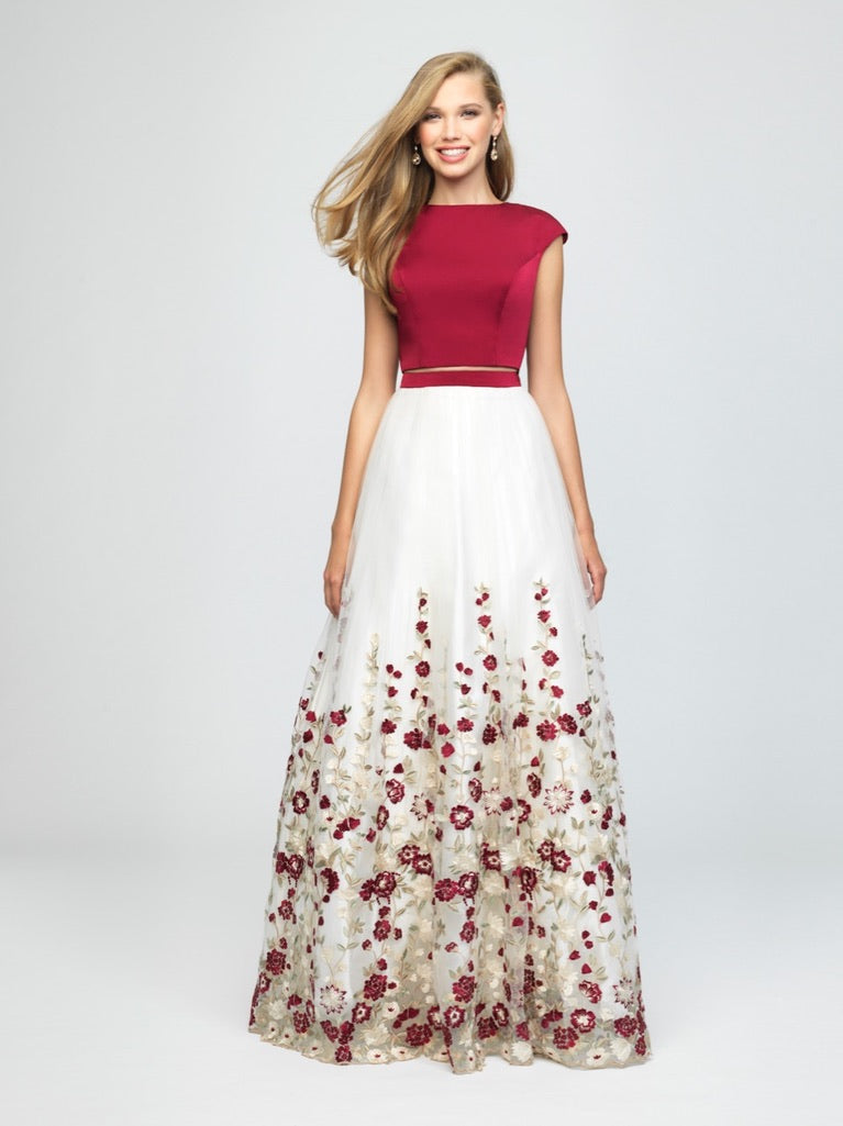 madison james 19-251M modest prom dress with sleeves floral ball gown sparkle cheap plus size