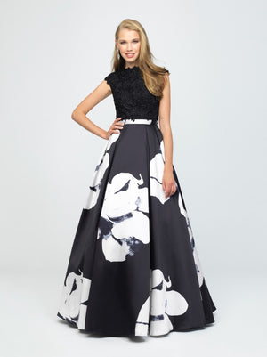 madison james 19-252M Black White modest prom dress with sleeves floral ball gown sparkle cheap plus size