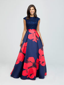 madison james 19-252M Red navy modest prom dress with sleeves floral ball gown sparkle cheap plus size