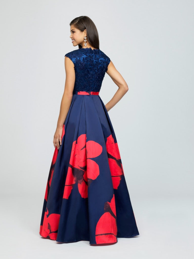 madison james 19-252M Red navy modest prom dress with sleeves floral ball gown sparkle cheap plus size back view