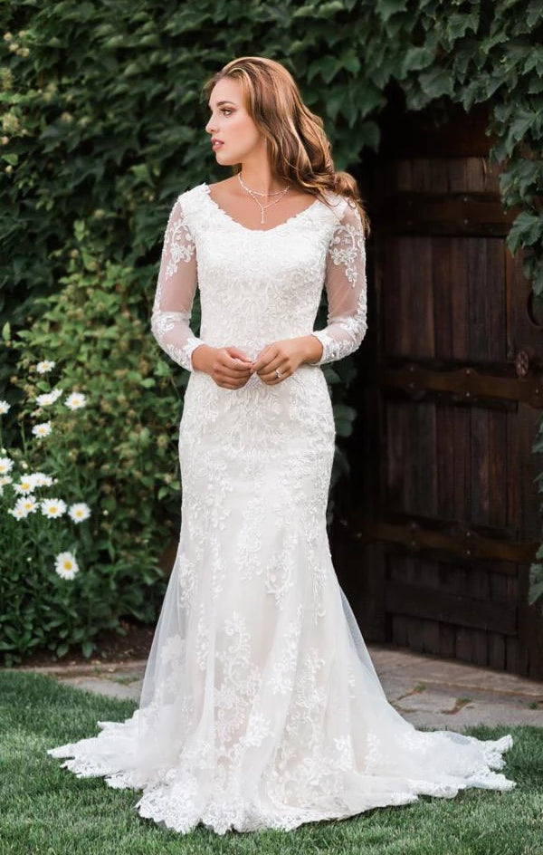 T1986Z modest wedding dress with illusion lace sleeves fitted lace neckline temple bridal gown