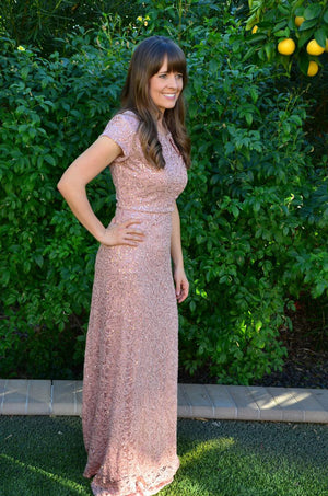 Ella Blush Modest Prom Dress with sleeves mormon prom cheap dress for plus size winter formal