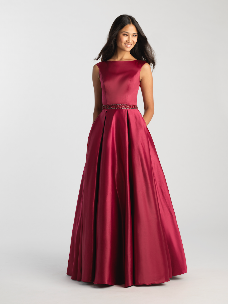 MJ 20-506M burgundy Modest Prom Dress Ball Gown for plus size LDS formal