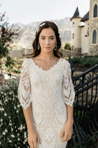 boho modest wedding dress with 3/4 illusion lace sleeves LDS bridal gown for plus size