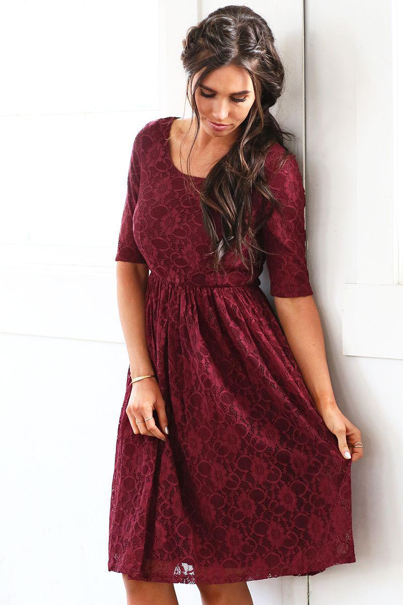 Emmy Burgundy Lace Bridesmaids Dress