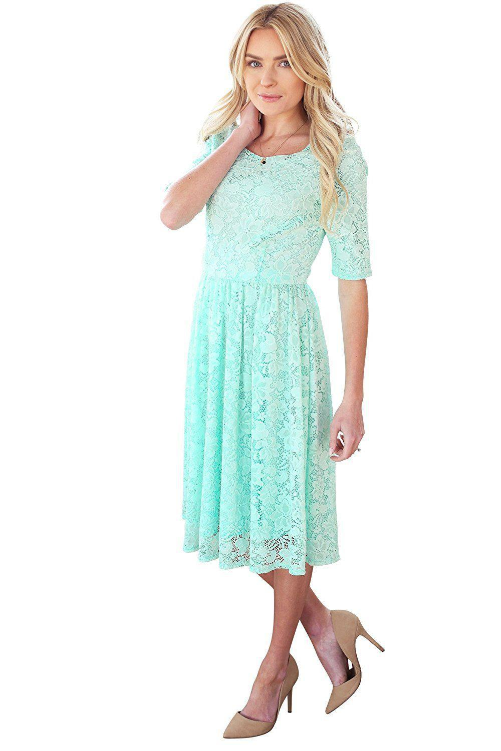 Emmy SeaFoam Bridesmaids Dress modest lace plus size cheap